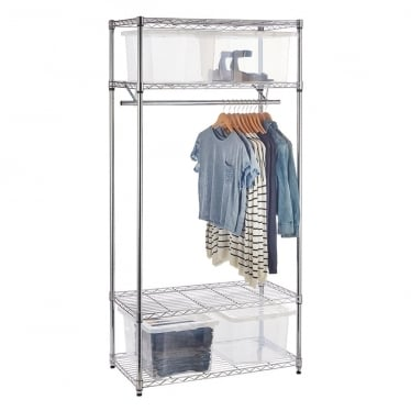 Chrome Wire Clothes Rack with 4 x 35 L Storage Boxes