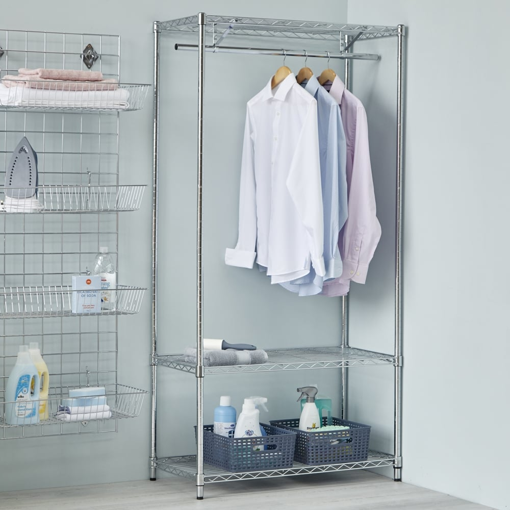 Chrome Clothes Rack with 4 Storage Boxes