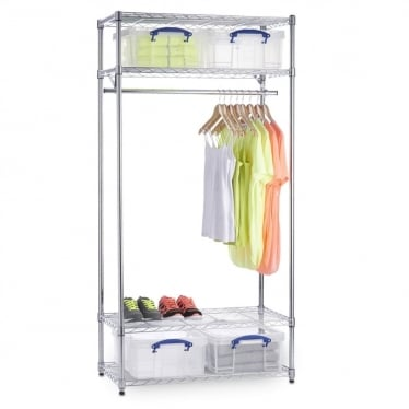 Chrome Wire Clothes Rack with 4 x Really Useful 18 L Storage Boxes