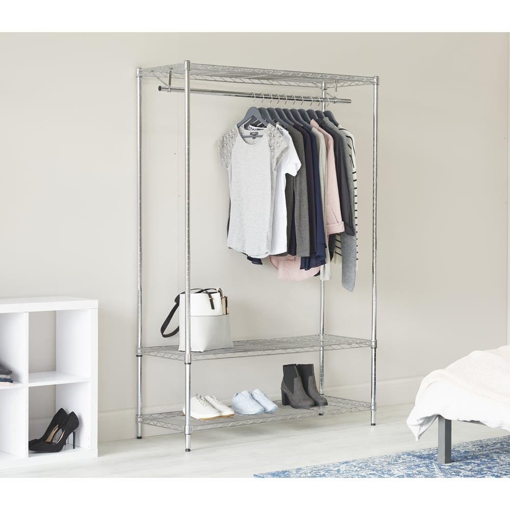 900mm Wide Chrome Clothes Rack with Wheels 2 Shelves & Hanging Rail