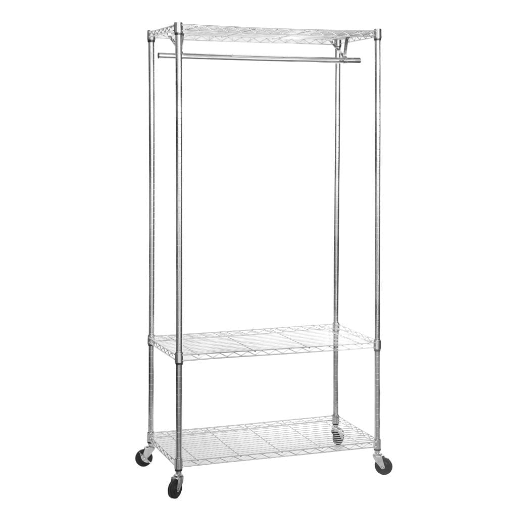 chrome clothes rack with wheels 900mm wide 3 shelves 1 hanging rail. Black Bedroom Furniture Sets. Home Design Ideas
