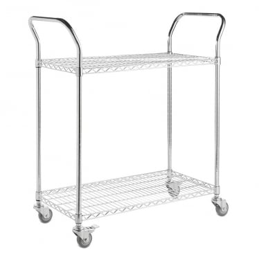 Chrome Wire Shelf Trolley - 2 Shelves, 2 Handles