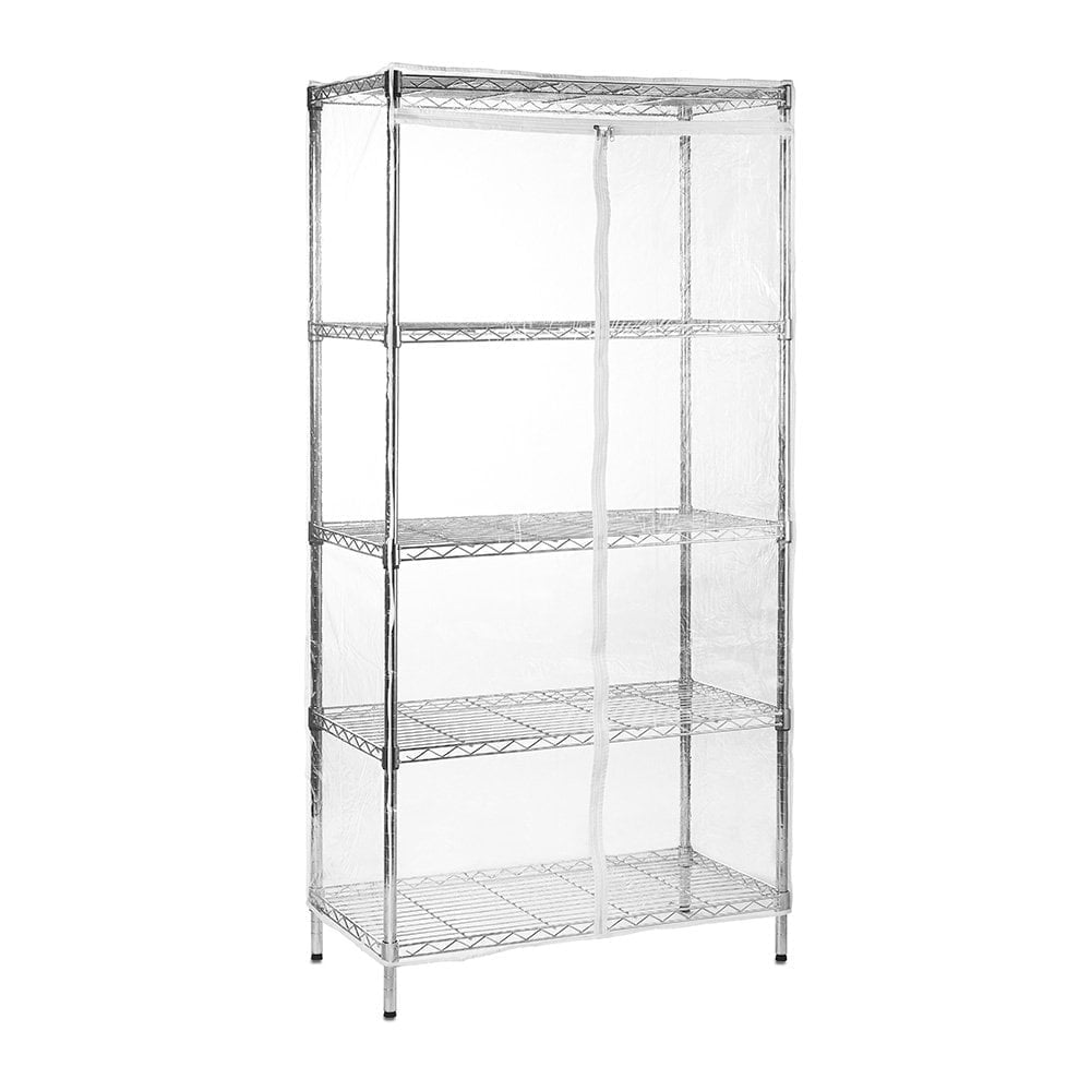Chrome Wire Shelving Unit with 5 Shelves and Clear Cover