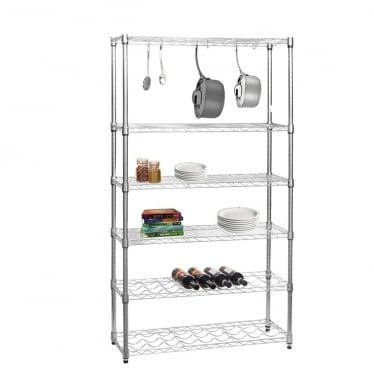 Chrome Wire Shelving Unit for Kitchens - 4 Shelves, 2 Wine Racks and 'S' Hooks