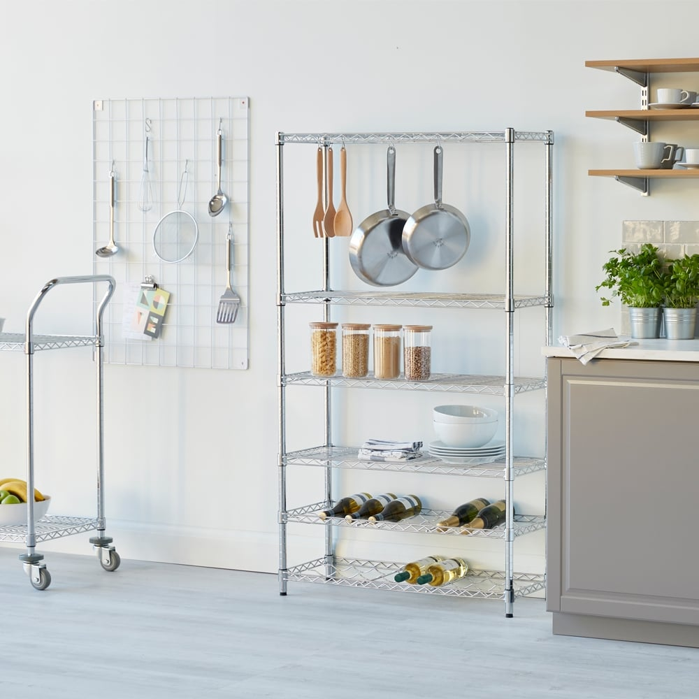Chrome Shelving Unit with 4 Shelves, 2 Wine Racks and 6 S-Hooks