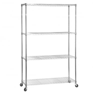 Chrome Wire Shelving Unit with Heavy-Duty Wheels - 4 Shelves
