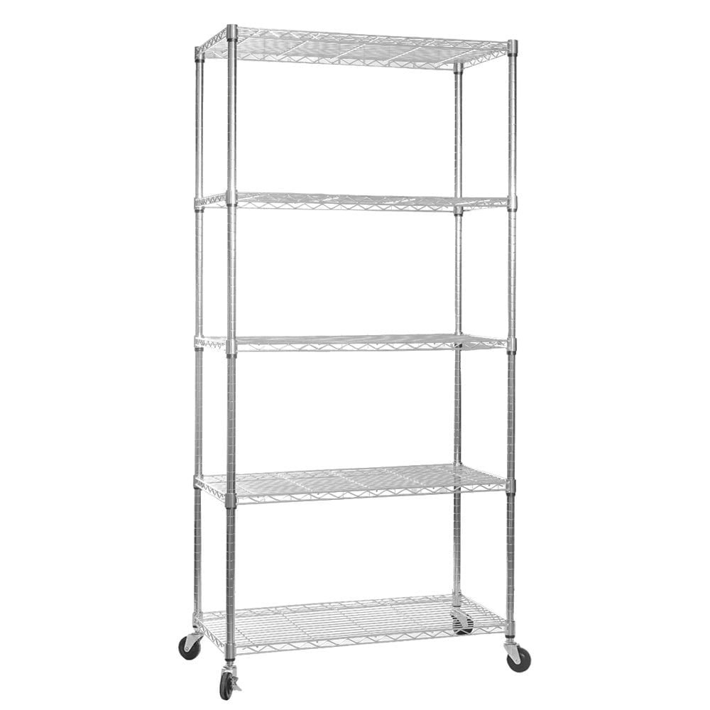Chrome wire shelving unit with heavy duty wheels 5 shelves