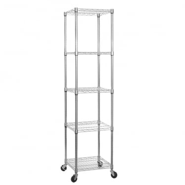 Chrome Wire Shelving Unit with Heavy-Duty Wheels - 5 Shelves