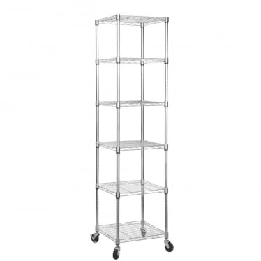 Chrome Wire Shelving Unit with Heavy-Duty Wheels - 6 Shelves