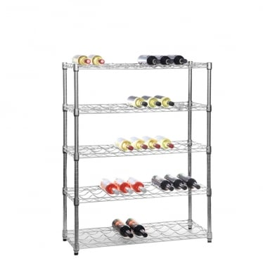Chrome Wire Shelving Wine Rack - 5 Shelves for 45 Bottles