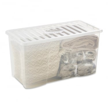 Clear Storage Box with Lid - 110 L