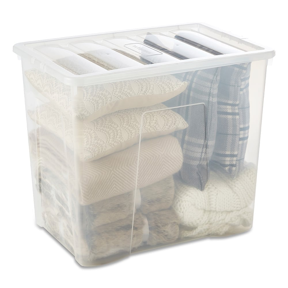 Clear Storage Box With Lid   160 L
