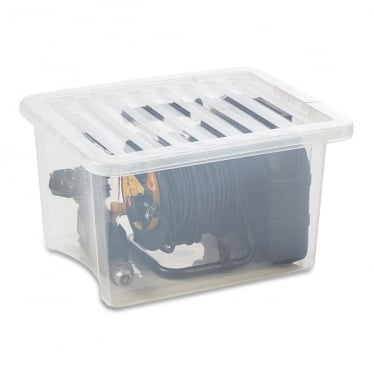Clear Storage Box with Lid - 35 L
