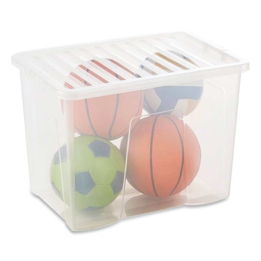 Clear Storage Box With Lid   80 L