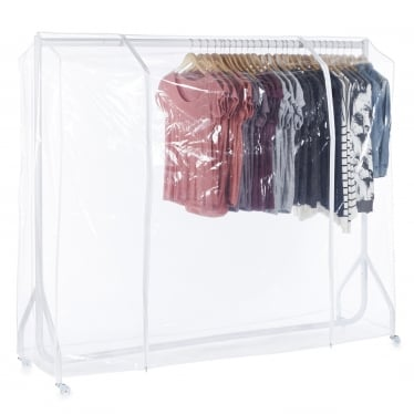Gloss White Heavy-Duty Clothes Rail with Clear Cover