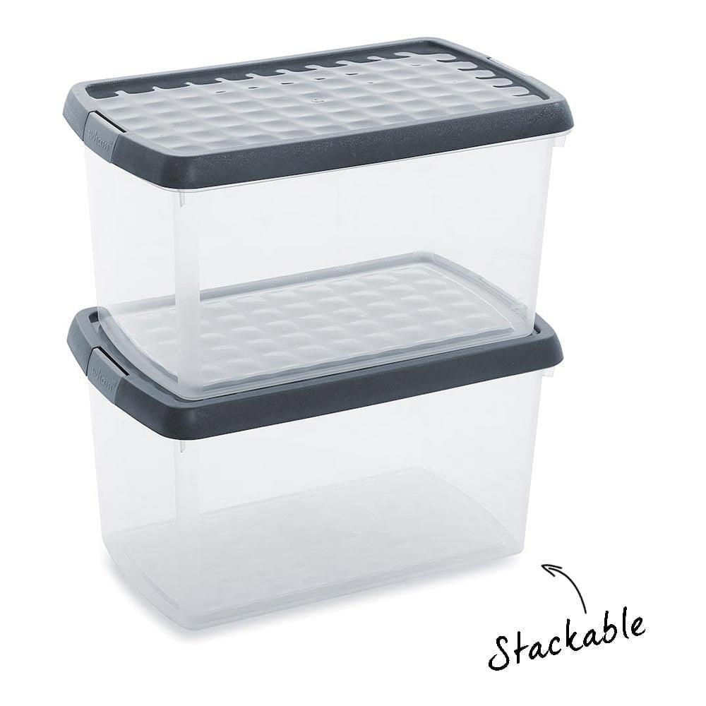 Graphite/Silver Storage Box With Clip On Lid   14 L