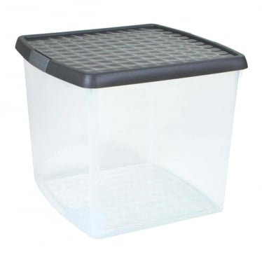 Graphite/Silver Storage Box with Clip-On Lid - 37 L