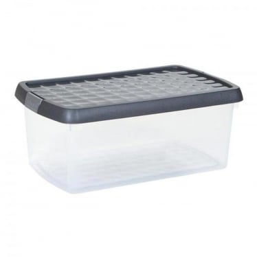 Graphite/Silver Storage Box with Clip-On Lid - 5.8 L