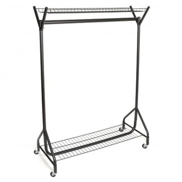 Heavy-Duty Clothes Rail with Top and Bottom Shelf