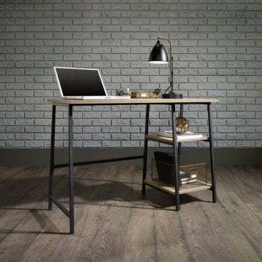 Hygge Black & Oak Bench Desk - 2 Shelves