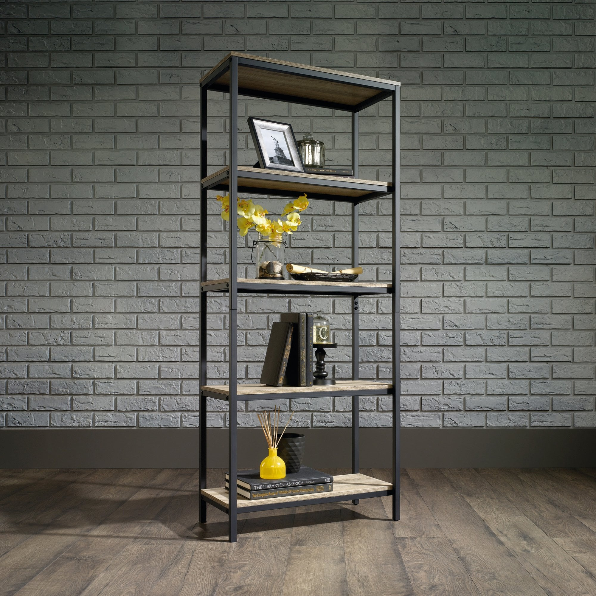 Hygge Black Oak Bookcase 4 Shelves