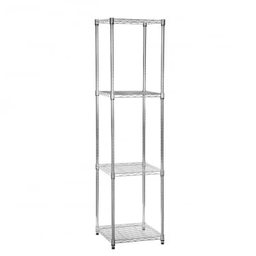 Klassiek Chrome Wire Shelving Unit - 4 Shelves