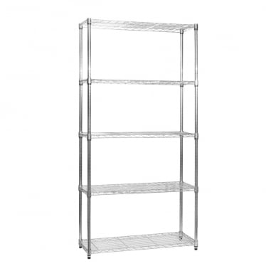 Klassiek Chrome Wire Shelving Unit - 5 Shelves
