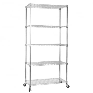 Klassiek Chrome Wire Shelving Unit with Heavy-Duty Wheels - 5 Shelves