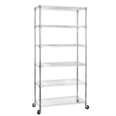 Klassiek Chrome Wire Shelving Unit with Heavy-Duty Wheels - 6 Shelves