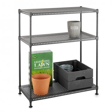 Kleinn Carbon Grey Light-Duty Shelving Unit - 3 Perforated Shelves