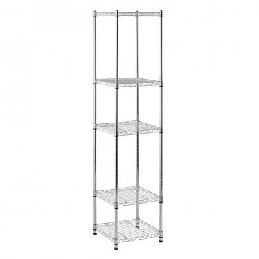 Kleinn Chrome Light-Duty Wire Shelving Unit - 5 Shelves
