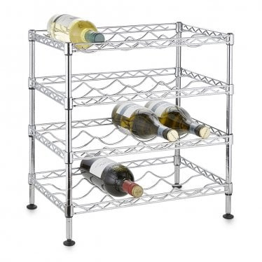 Kleinn Chrome Wire Wine Rack - 4 Shelves for 16 Bottles