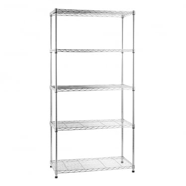 Kleinn Light-Duty Chrome Wire Shelving Unit - 5 Shelves