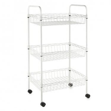 Kleinn White Wire Basket Trolley