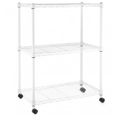 Kleinn White Wire Shelving Unit with Wheels - 3 Shelves