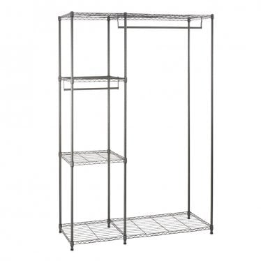 Koolstof Carbon Grey Clothes Rack - 4 Shelves & 2 Rails
