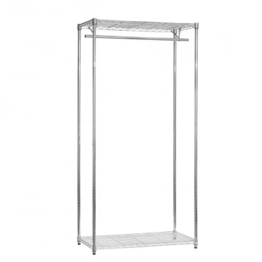 Koolstof Chrome Wire Clothes Rack - 2 Shelves & 1 Rail