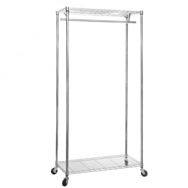 Koolstof Chrome Wire Clothes Rack with Heavy-Duty Wheels - 2 Shelves & 1 Rail
