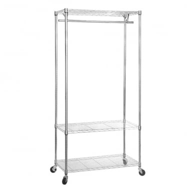 Koolstof Chrome Wire Clothes Rack with Heavy-Duty Wheels - 3 Shelves & 1 Rail