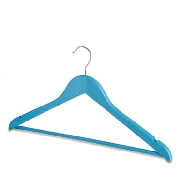 Matt Blue Wooden Hanger with Trouser Bar and Shoulder Notches