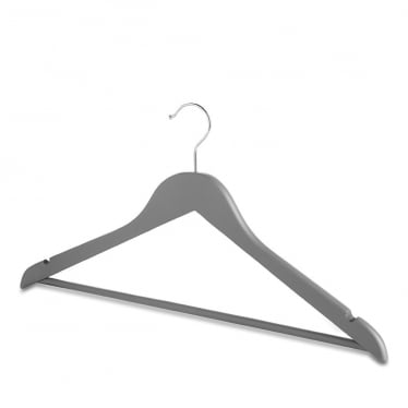 Matt Grey Wooden Hanger with Trouser Bar and Shoulder Notches