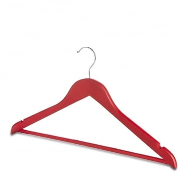Matt Red Wooden Hanger with Trouser Bar and Shoulder Notches