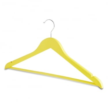 Matt Yellow Wooden Hanger with Trouser Bar and Shoulder Notches
