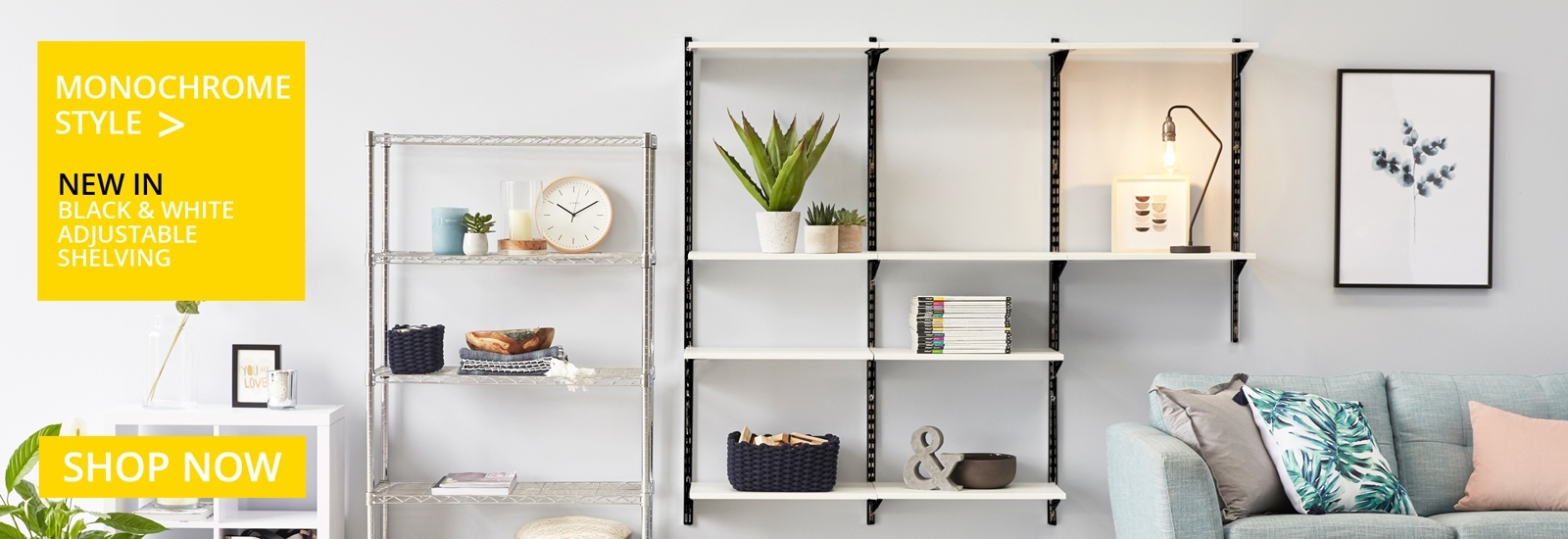 Monochrome Adjustable shelving