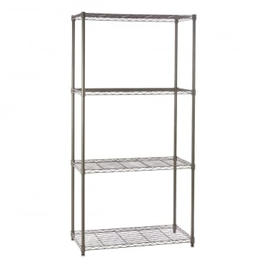 Narrow Carbon Grey Wire Shelving Unit - 4 Shelves