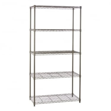 Narrow Carbon Grey Wire Shelving Unit - 5 Shelves