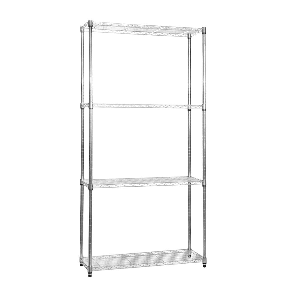 Narrow Chrome Wire Shelving Unit with 4 Shelves