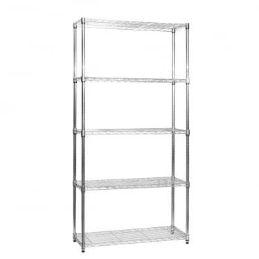 Narrow Chrome Wire Shelving Unit - 5 Shelves
