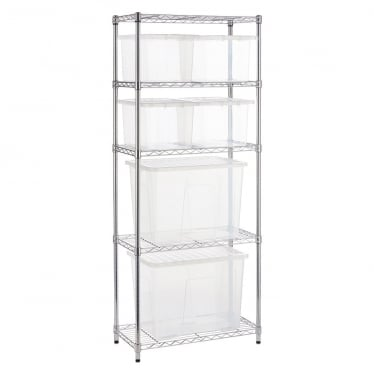 Narrow Chrome Wire Shelving Unit with 2 x 80 L & 4 x 24 L Storage Boxes
