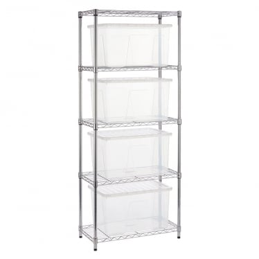 Narrow Chrome Wire Shelving Unit with 4 x 60 L Storage Boxes